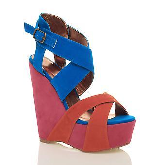 Ajvani womens plattform høy hæl kile strappy sommer sandaler sko