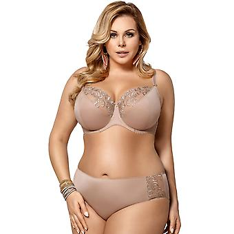 Gorsenia K378 Women's Victoria Beige Embroidered Non-Padded Underwired Support Coverage Full Cup Bra