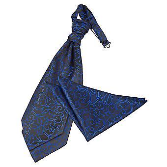 Musta && Sininen Pyörre Wedding Cravat & Taskun neliösetti