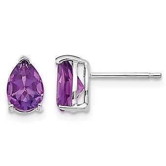 7x5mm Tear Drop Purple Solitaire Amethyst Earrings 14K White Gold