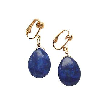 Gemshine earrings - earrings - ear clips - gold plated - lapis lazuli - drops - blue - 3 cm