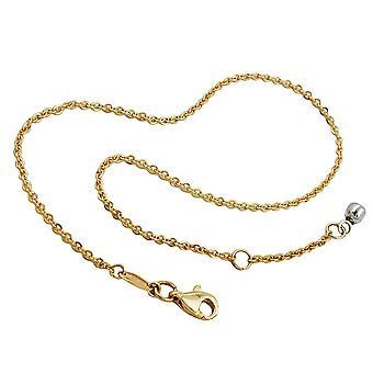 Gold Anklets Enkelbandjes 375 gouden ketting, ankerketting met einde bal, 9 KT goud