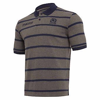 2018-2019 Szkocji Macron Rugby pasek Poly bawełniana koszulka Polo (węgiel drzewny)