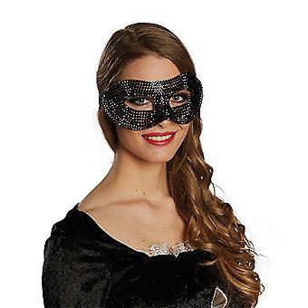 Domino diamant zwart masker bling bling accessoire carnaval Mardi
