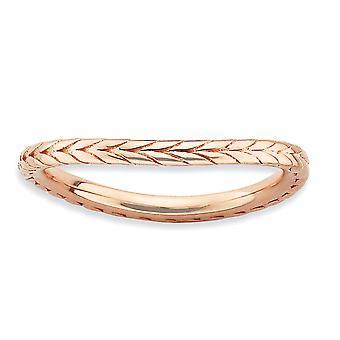 1,5 mm 925 sterling sølv mønstret stables uttrykk polert rosa belagt bølge ring smykker gaver til kvinner - Ring