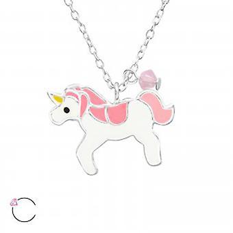 Collana di ragazze in argento e resina epossidica unicorno con un cristallo di Swarovski