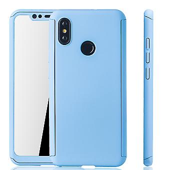 Xiaomi MI 8 Mobile case protection case full-cover protection glass light blue tank