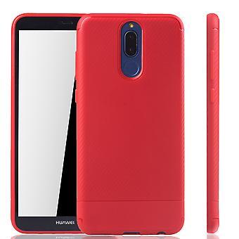 Huawei mate 10 Lite mobil lock Schutzcase carbon fiberoptiska stötfångare röd