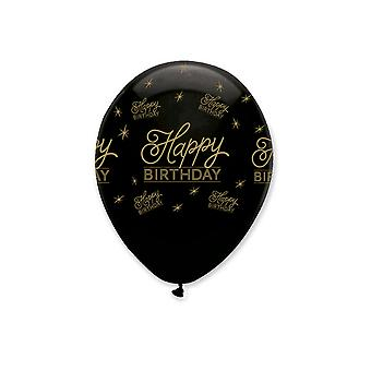Creative Party Black All Round Happy Birthday Print Latex Balloons (Pack of 6)