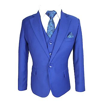 Boys Royal Blue Tailored Fit 6 Piece Formal Suits