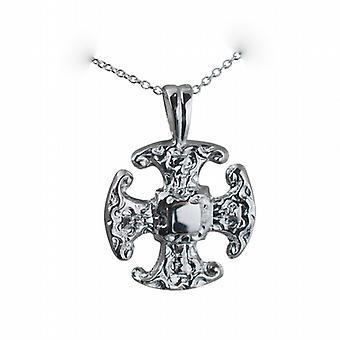 Zilver 21mm Fancy kruis met een rolo ketting 24 inch