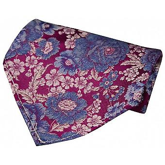 Posh and Dandy Floral Silk Handkerchief - Cerise/Blue/Lilac