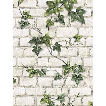 Ivy mursten effekt tapet sten. skifer tekstureret præget hvid grøn moderne