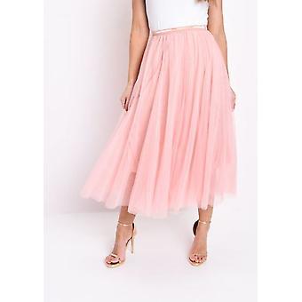 Złota szczegóły Tiul siatki Midi różowy spódnica