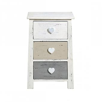 Möbel Rebecca Comodino Shabby Chic Vintage weiß Beige grau 56x37x27