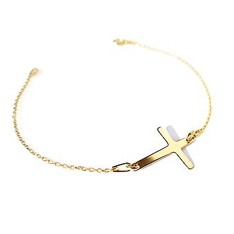 Ah! Jewellery 24K Gold Vermeil Over Sterling Silver Cross Bracelet, Stamped 925