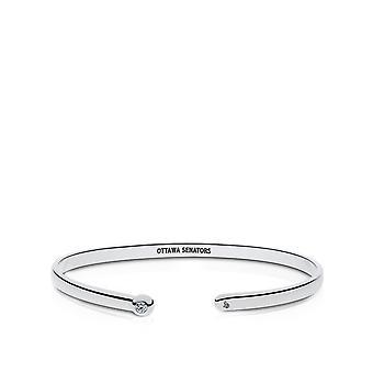 Ottawa Senators Engraved Sterling Silver Diamond Cuff Bracelet
