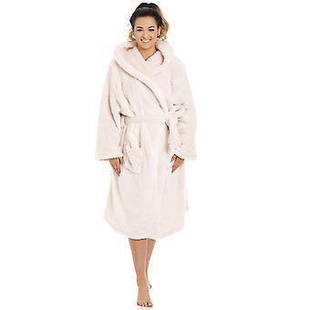 Camille dame damer bløde fleece pink langærmet hætteklædte dressing kjole