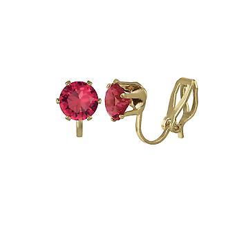Eeuwige collectie Tara Fuchsia Roze Crystal Gold Tone Stud Clip op oorbellen