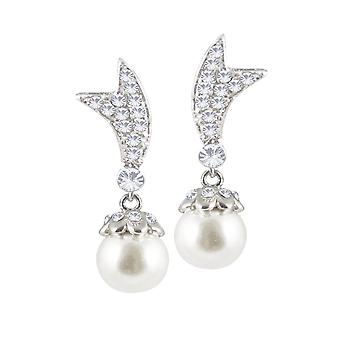 Eternal Collection Shooting Star Diamante & Pearl Silver Tone Drop Pierced Earrings
