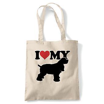 I Love My Cocker Spaniel Tote - Reusable Shopping Canvas Bag Gift