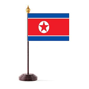 Corea del norte bandera de mesa con Base y palo