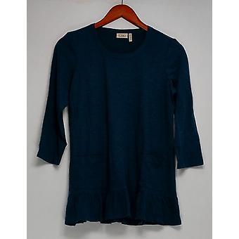 LOGO by Lori Goldstein Top Cotton Slub Knit Tee Blue A284921