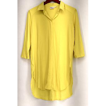 Women with Control Petite Top SP 3/4 Sleeve Collared Tunic Yellow A272693