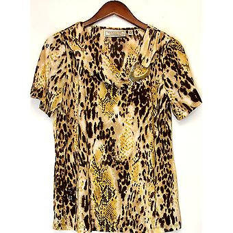 George Simonton Animal Print Short Sleeve Top Natural Brown A201569