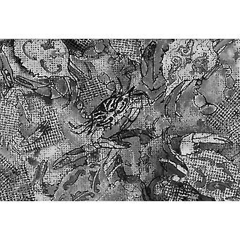 Carolines Treasures 8953PLMT grå lerret abstrakt krabber stoff underlag