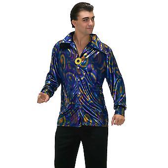 迪斯科热二十世纪七十年代二十世纪六十年代复古赛道-螨男衬衫男子服装加尺寸