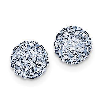 925 Sterling Silver Polished Post Earrings Blue Crystal Earrings