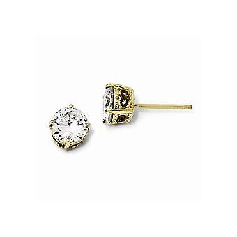Guld blinkede og sort belagt 925 Sterling Sølv Post Øreringe Sort rhodium 6.5mm CZ Cubic Zirconia simuleret Diamond