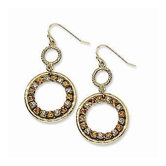 Guldton Shepherd krok Lt och Dk Yellow Crystal Circle Long Drop Dingla Örhängen Smycken Gåvor för kvinnor
