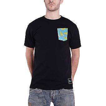 Rick og Morty T Shirt Banana Cream Pocket logo nye offisielle menns svart