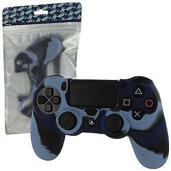 Silicone rubber skin grip cover for sony ps4 controller with ribbed handle - camo dark blue