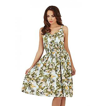 Pistachio Women's Tropical Floral & Leaf Sun Dress