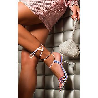 IKRUSH Womens Court Tie Up Perspex Heels