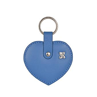 Heart Lakeland Leather Keyring en bleu marine