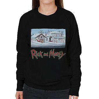 Rick and Morty Smith Snow Covered House Women's Sweatshirt