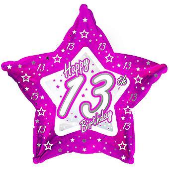 Creative Party Happy 13th Birthday Pink Star Balloon