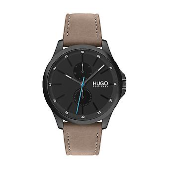 Hugo Watch 1530122 - Jump Multifunction Grey Steel Case Grey Leather Bracelet Camel Male