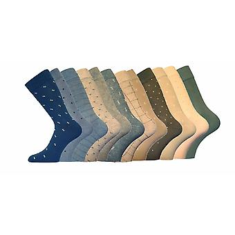 MENS Luxury Holiday Patterned Cotton Socks 12pk 6-11 Mix Colours