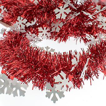 Snowflake & Red Tinsel Christmas Tree Decoration - 2m