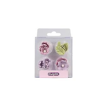 Culpitt Lila suiker bloemen & bladeren-16 stuk-single