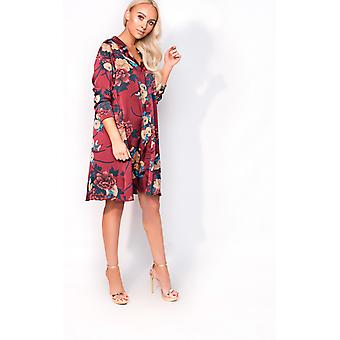 IKRUSH Womens Melody Over Satin Floral Shirt Dress