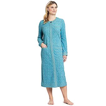 Féraud 3191135-10841 Women's Couture Turquoise Cotton Dressing Gown Loungewear Robe