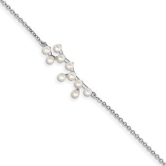 925 Sterling Silver Rhod plat 10 2 3mm Fwc Pearl Sagitarius With 1inch Ext. Bracelet 7 Inch Jewelry Gifts for Women