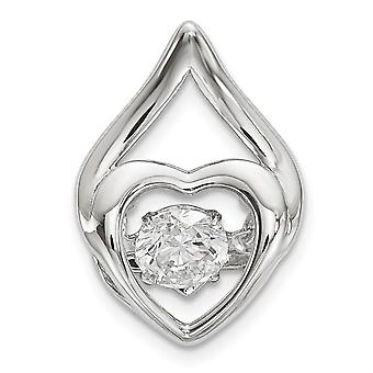 Measures 31.7x22.5mm Wide 925 Sterling Silver Unisex Cubic Zirconia Religious Charm Pendant