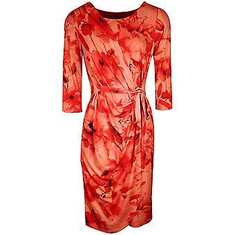 Michaela Louisa Orange Floral Print Long Sleeve Wrap Dress